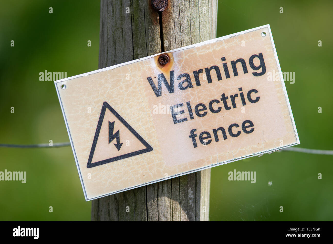 A crooked sign warning people that an electric fence is present. The sign is attached to a wire fence with a green background. - Stock Image