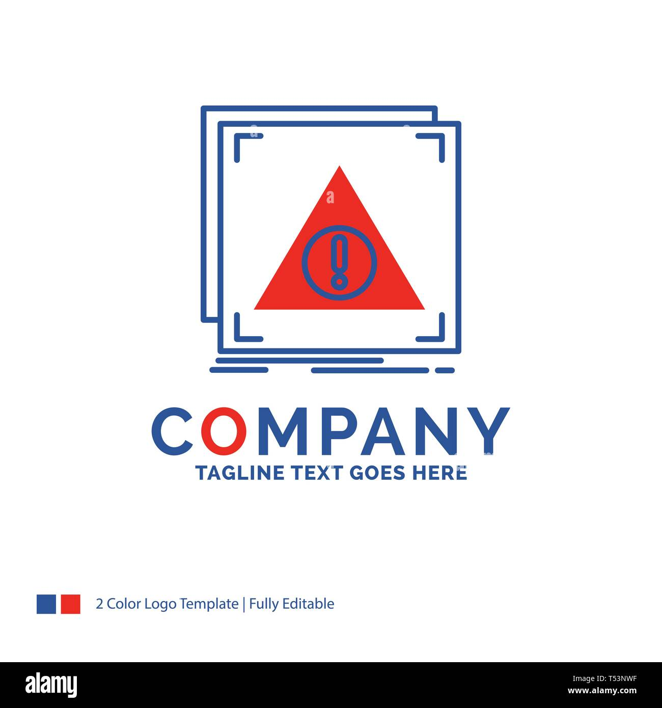 Company Name Logo Design For Error, Application, Denied, server, alert. Blue and red Brand Name Design with place for Tagline. Abstract Creative Logo  - Stock Image