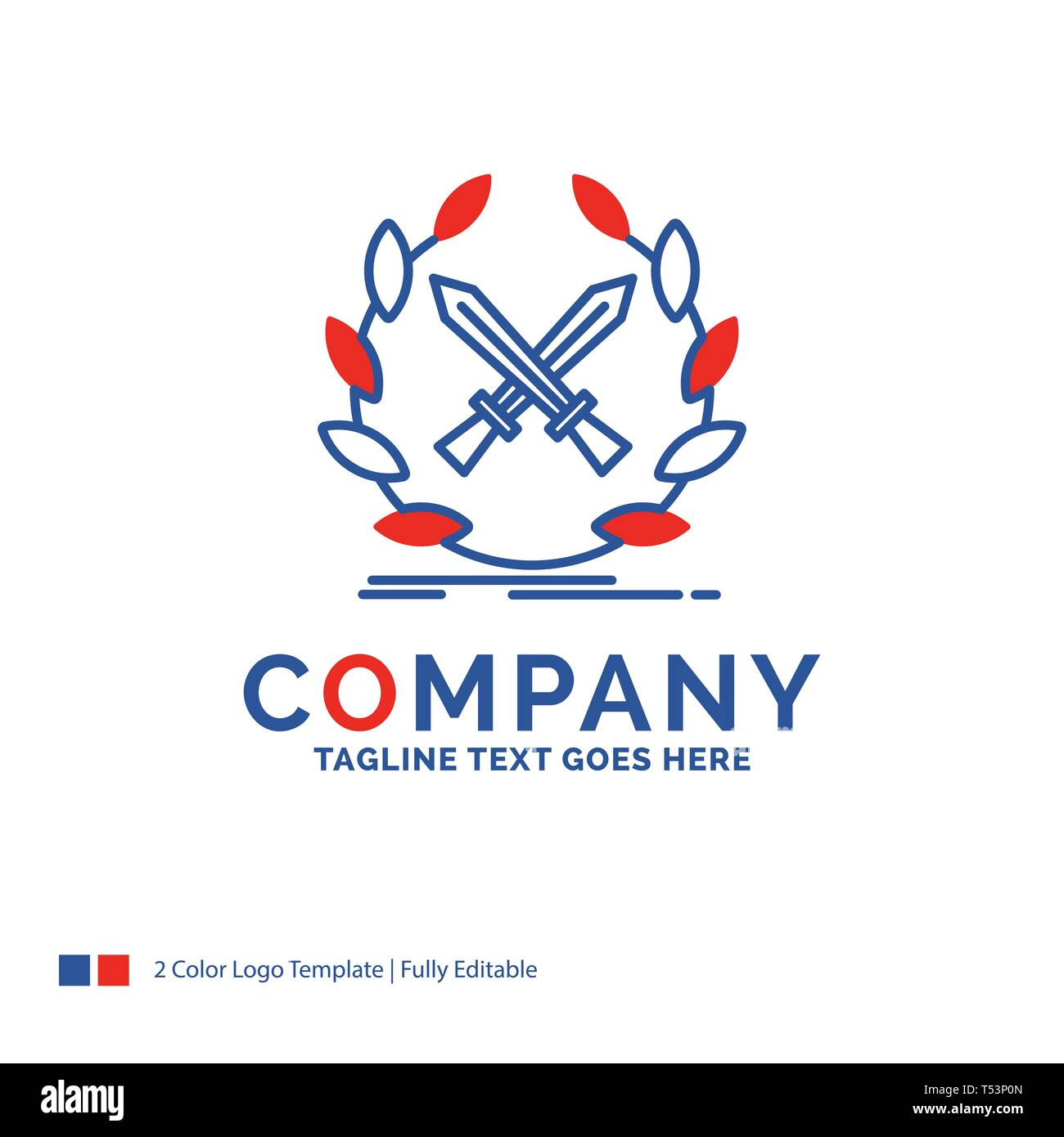 Company Name Logo Design For battle, emblem, game, label, swords. Blue and red Brand Name Design with place for Tagline. Abstract Creative Logo templa - Stock Image