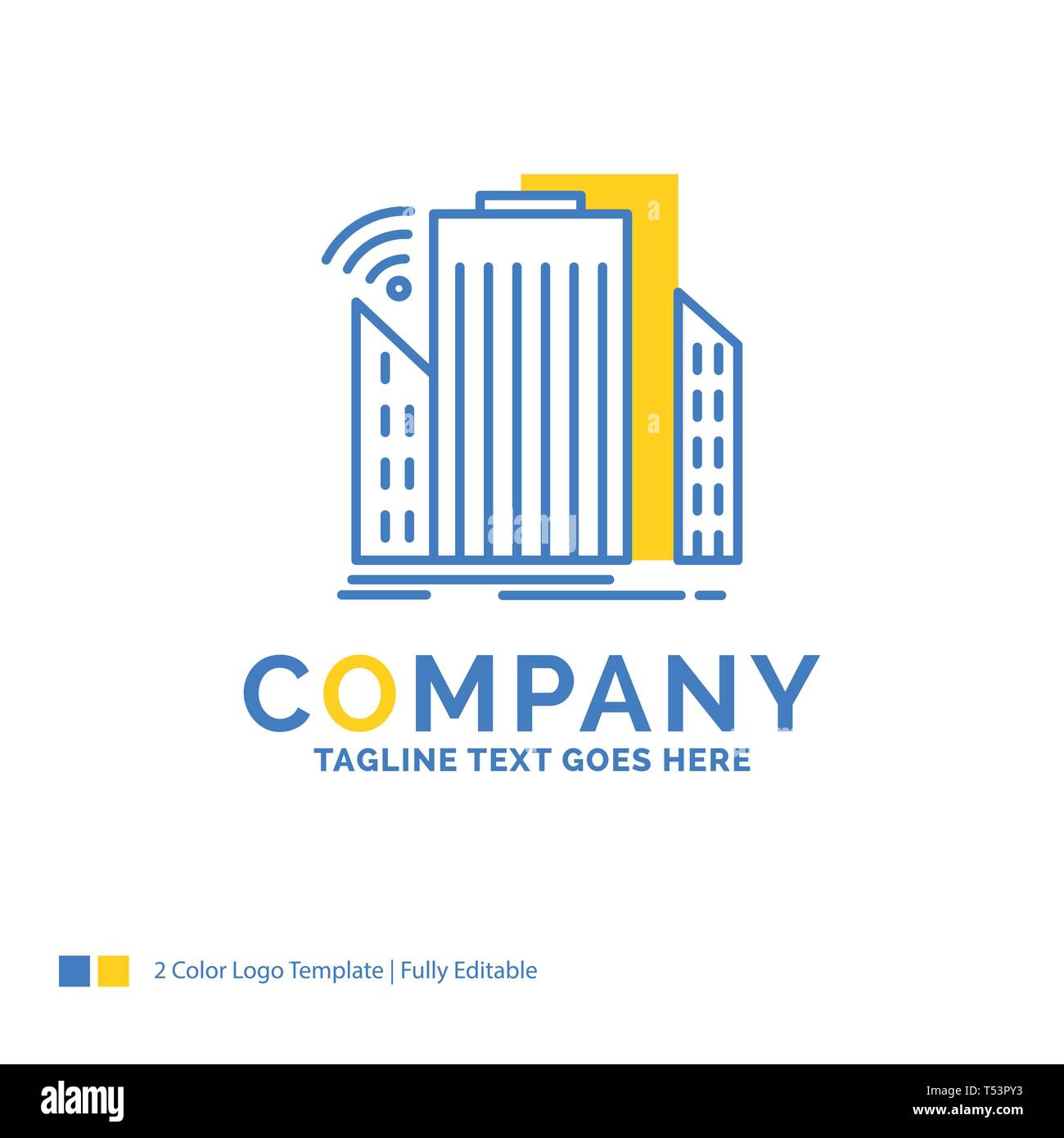 Buildings, city, sensor, smart, urban Blue Yellow Business Logo template. Creative Design Template Place for Tagline. - Stock Vector