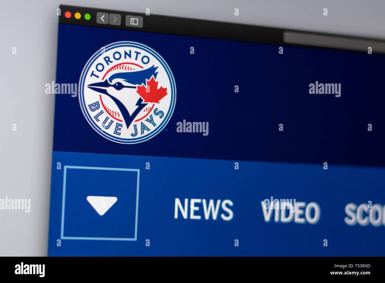 Baseball team Toronto Blue Jays website homepage. Close up of team logo. Can be used as illustrative for news media or other websites - Stock Image