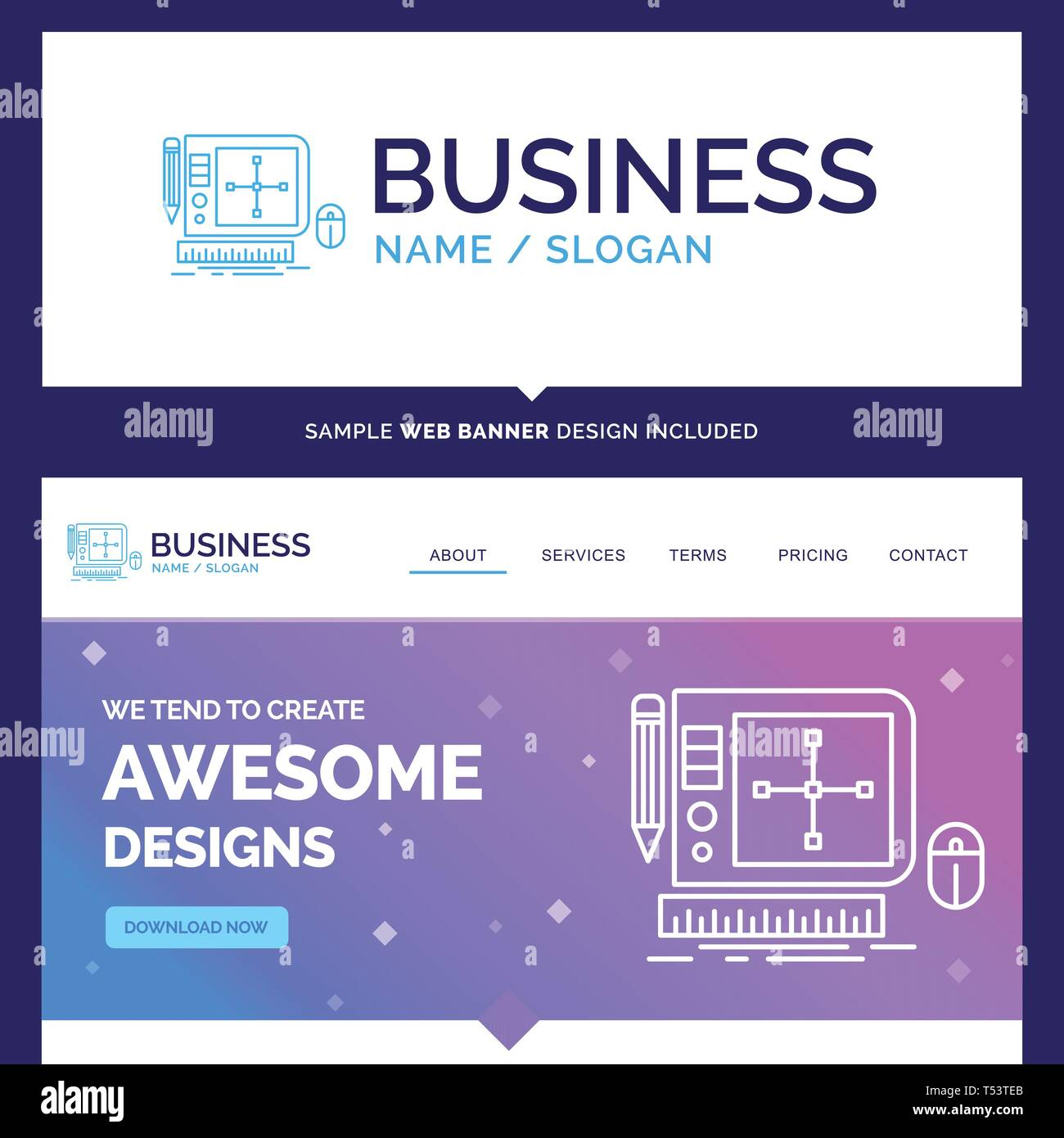 Beautiful Business Concept Brand Name Design Graphic Tool Software Web Designing Logo Design And Pink And Blue Background Website Header Design Te Stock Vector Image Art Alamy