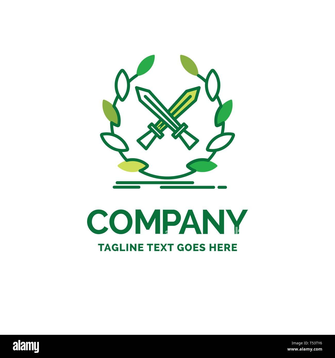 battle, emblem, game, label, swords Flat Business Logo template. Creative Green Brand Name Design. - Stock Image