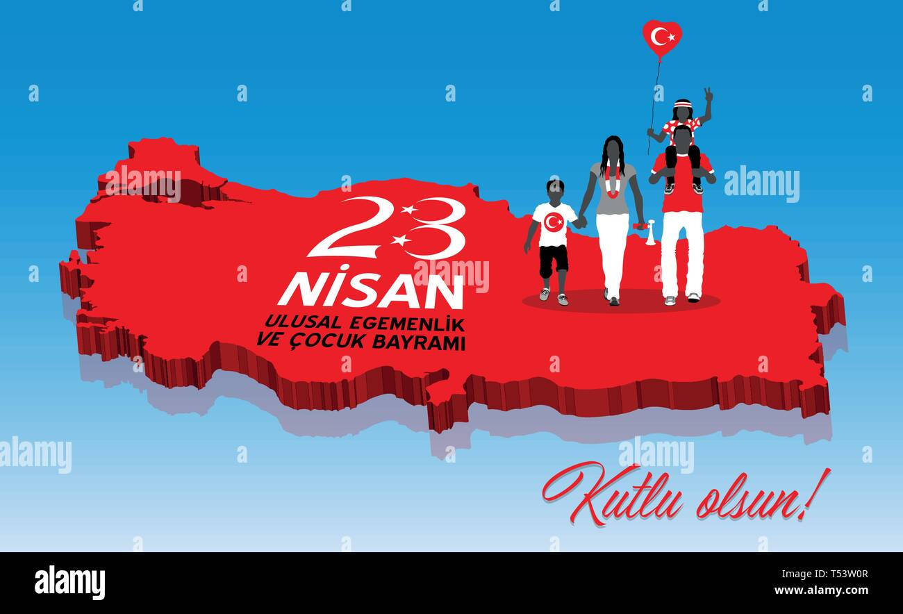 Turkish family celebrating the April 23 day over a Turkey map. All the objects are in different layers and the text types do not need any font. - Stock Vector