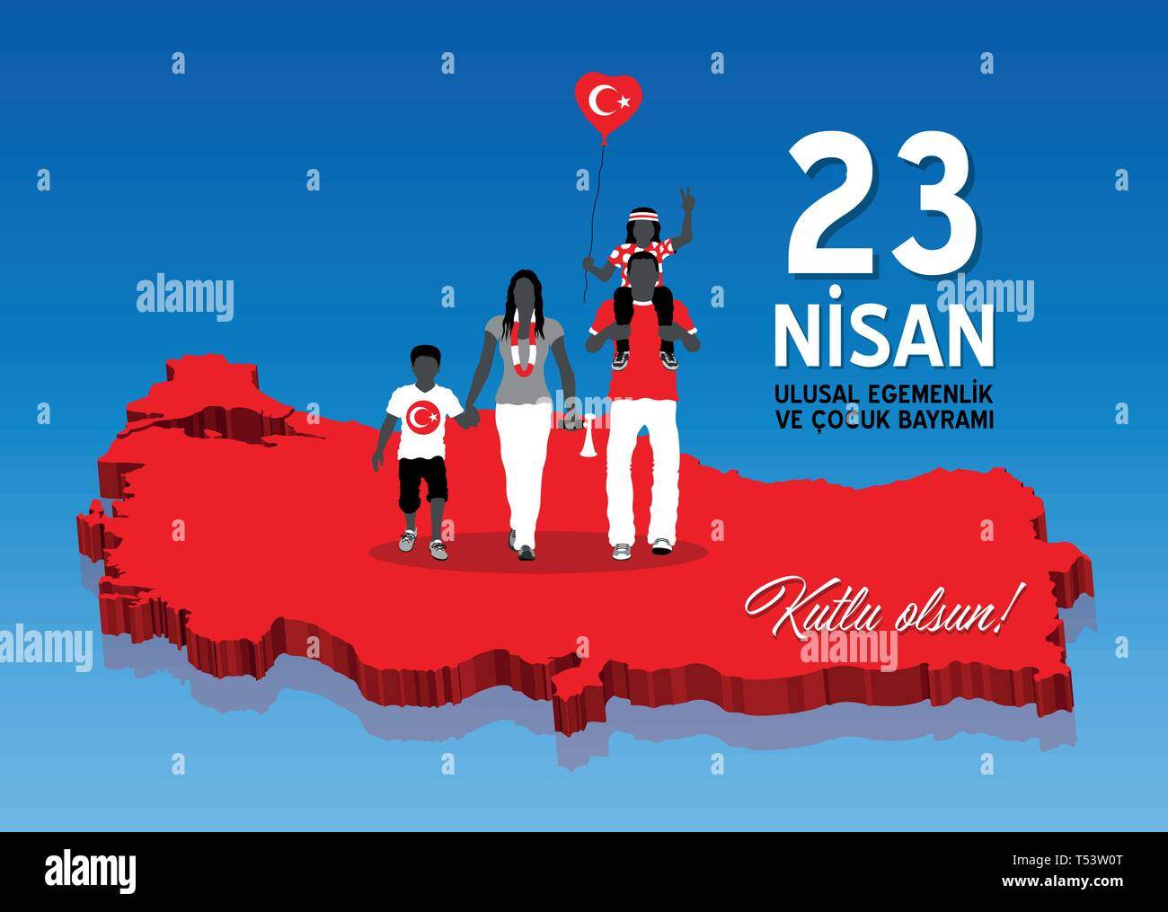 April 23 celebration over a Turkey map with Turkish family. All the objects are in different layers and the text types do not need any font. - Stock Vector