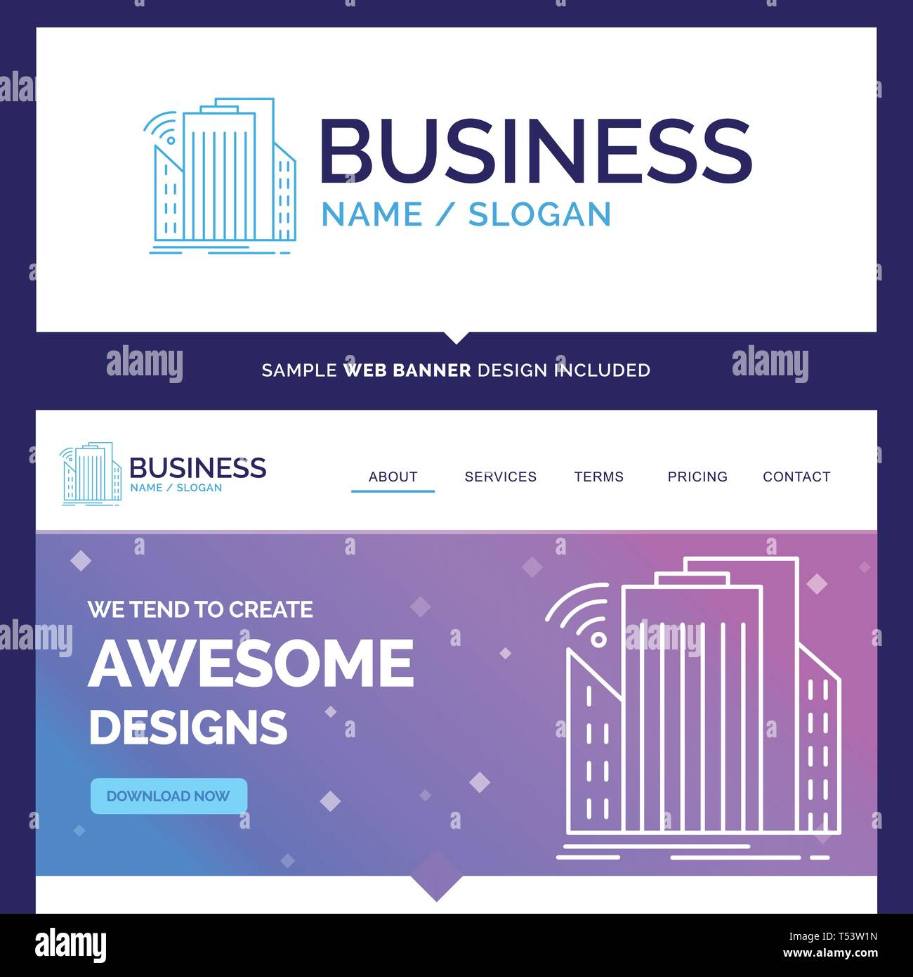Beautiful Business Concept Brand Name Buildings, city, sensor, smart, urban Logo Design and Pink and Blue background Website Header Design template. P - Stock Vector