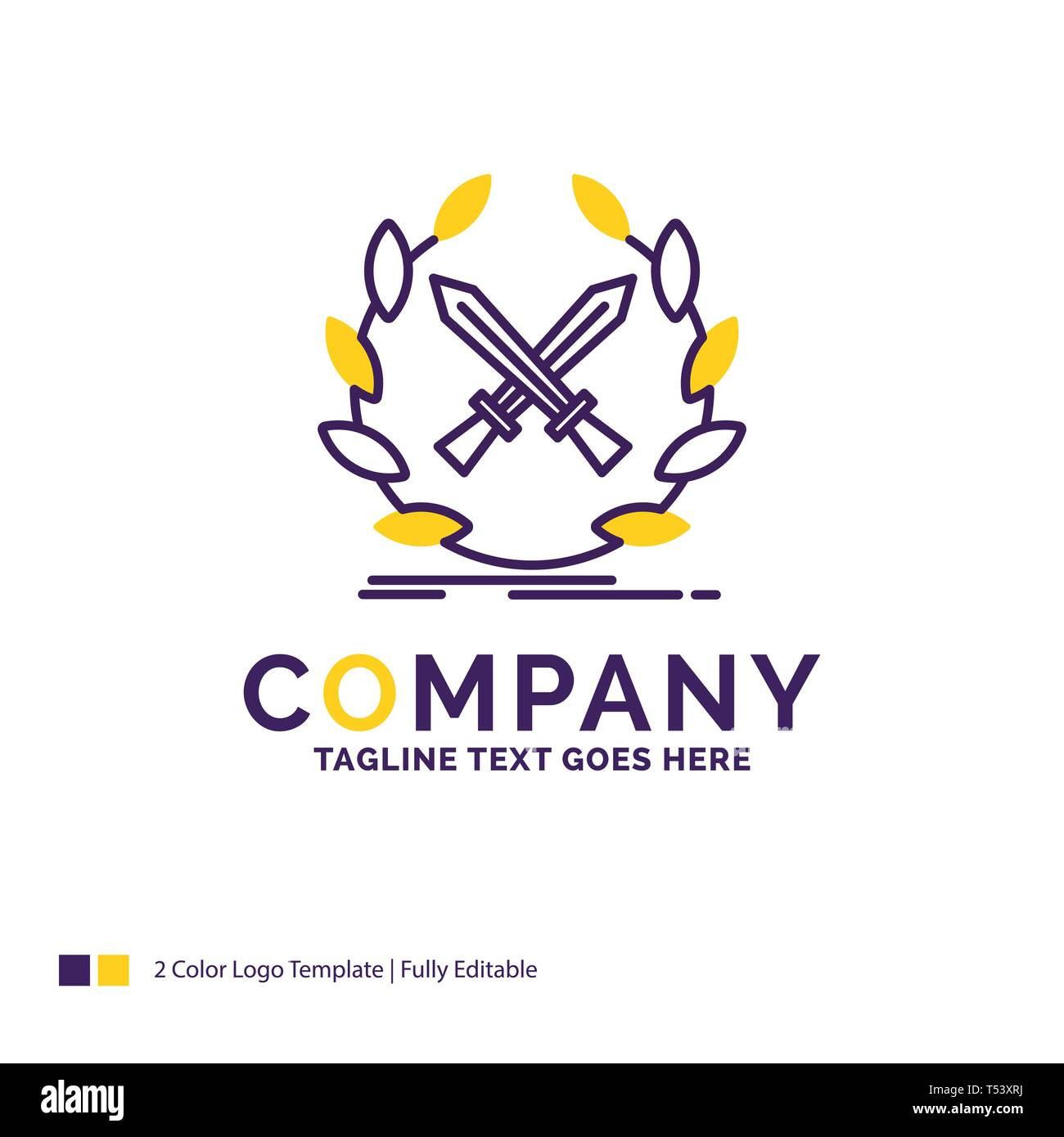 Company Name Logo Design For battle, emblem, game, label, swords. Purple and yellow Brand Name Design with place for Tagline. Creative Logo template f - Stock Image