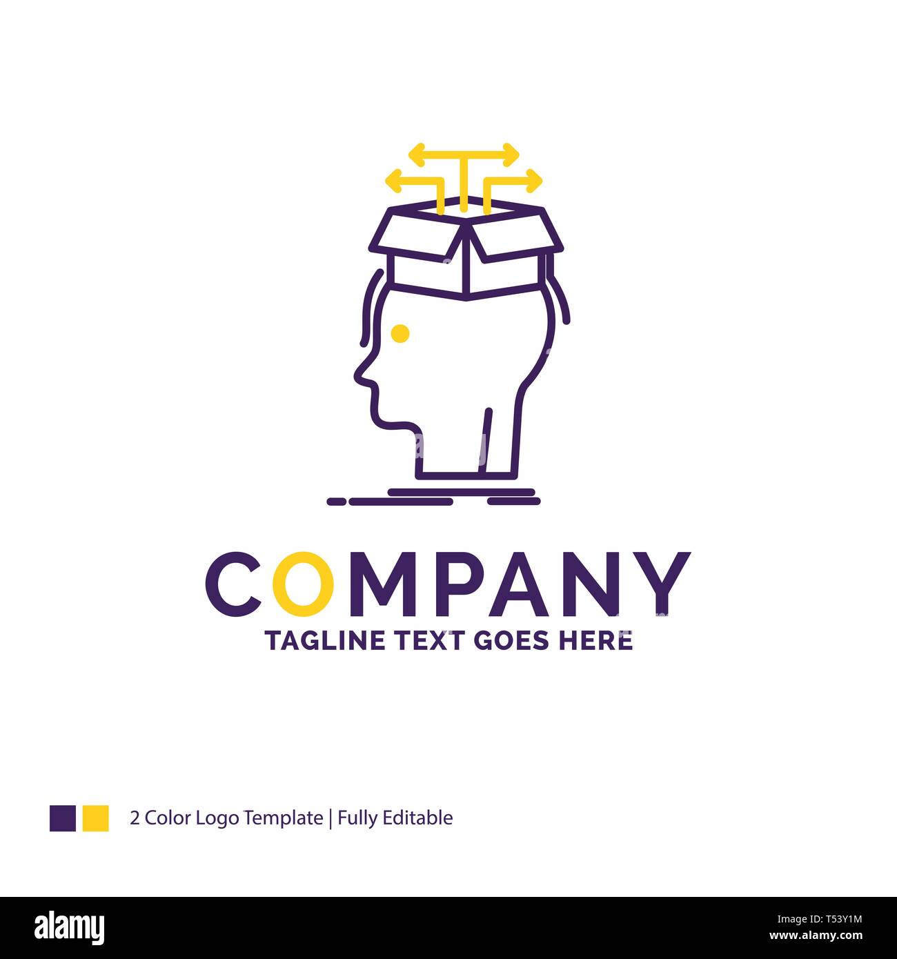 Company Name Logo Design For Data Extraction Head Knowledge Sharing Purple And Yellow Brand Name Design With Place For Tagline Creative Logo Tem Stock Vector Image Art Alamy