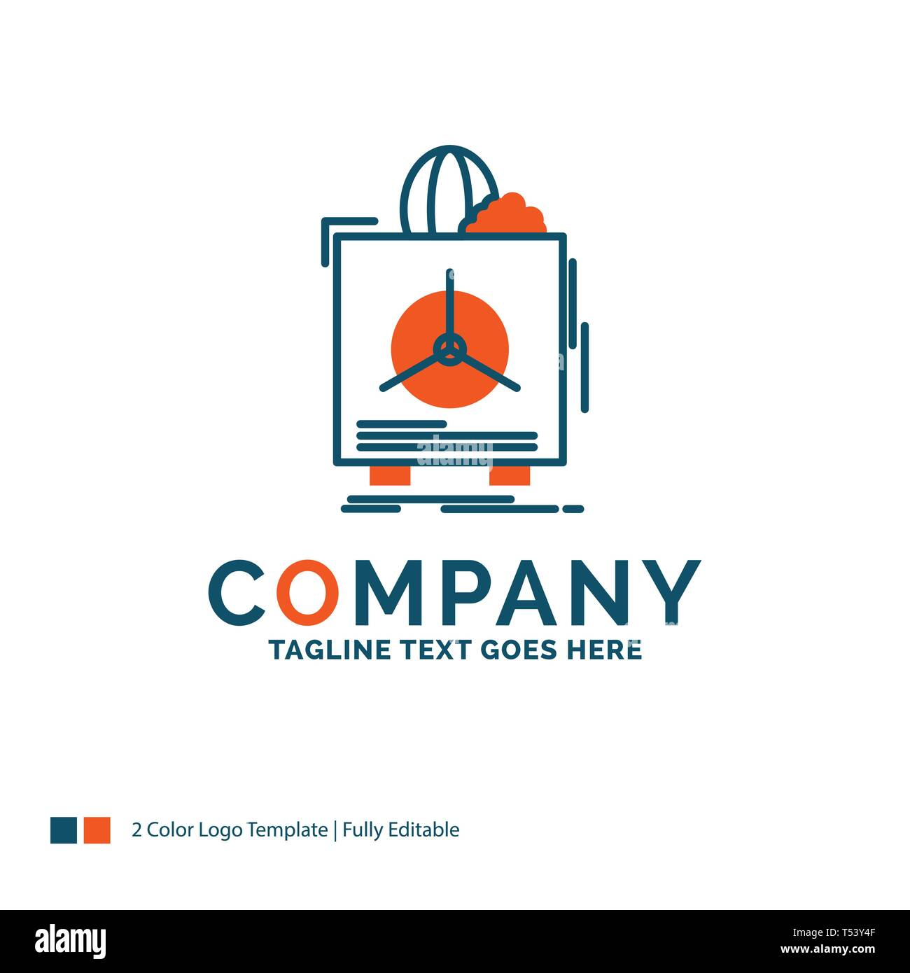 insurance, Fragile, product, warranty, health Logo Design. Blue and Orange Brand Name Design. Place for Tagline. Business Logo template. - Stock Image
