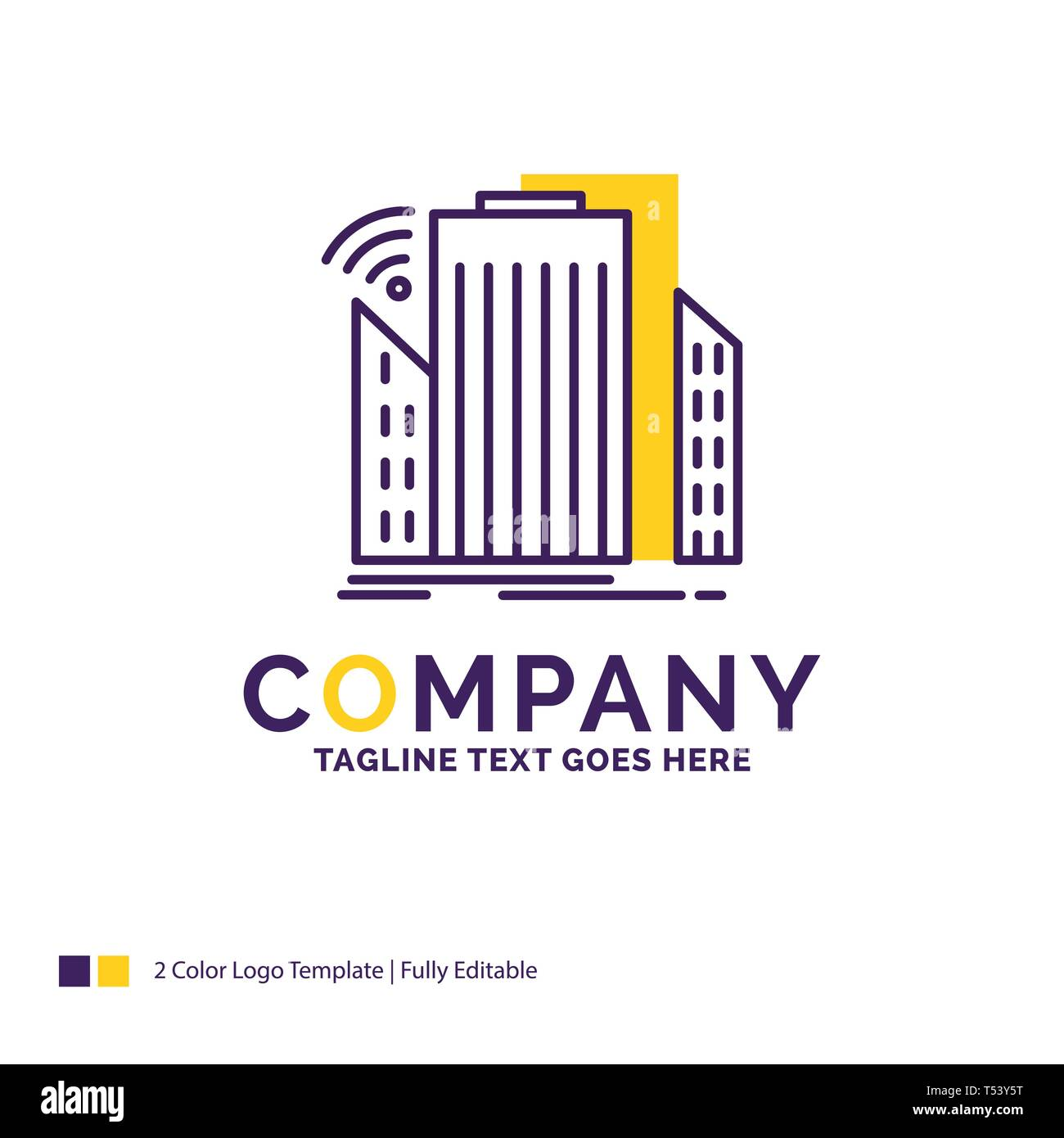 Company Name Logo Design For Buildings, city, sensor, smart, urban. Purple and yellow Brand Name Design with place for Tagline. Creative Logo template - Stock Image