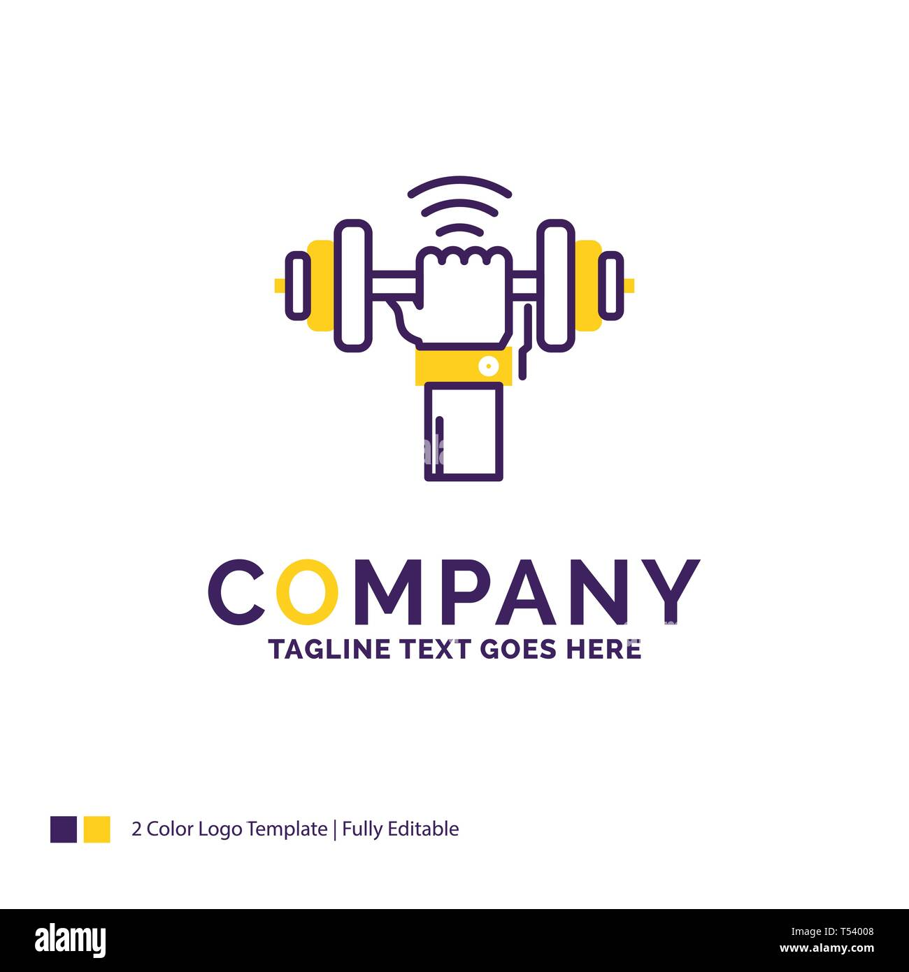 company name logo design for dumbbell gain lifting power sport purple and yellow brand name design with place for tagline creative logo template stock vector image art alamy alamy
