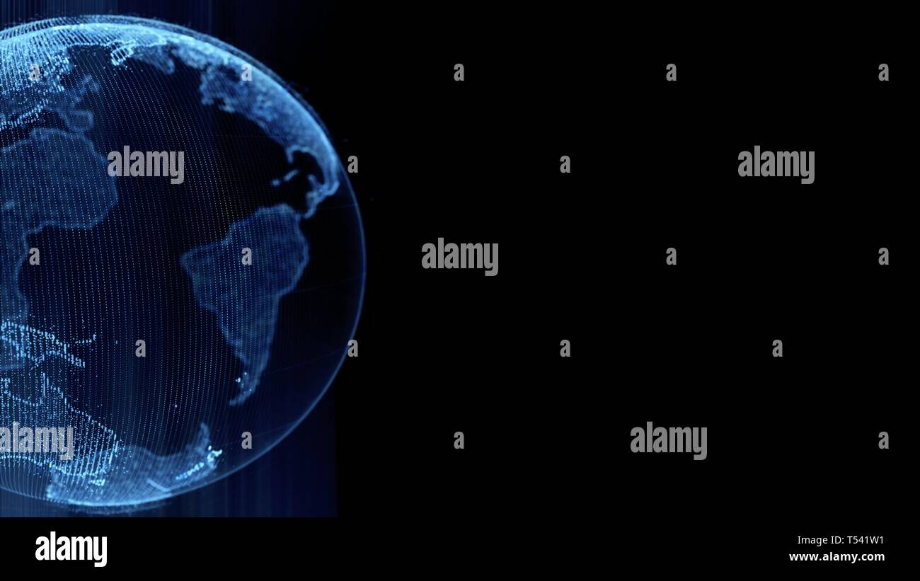 Earth rotating loop of rotating glowing dots stylised world globe with orbits with copy space - Stock Image