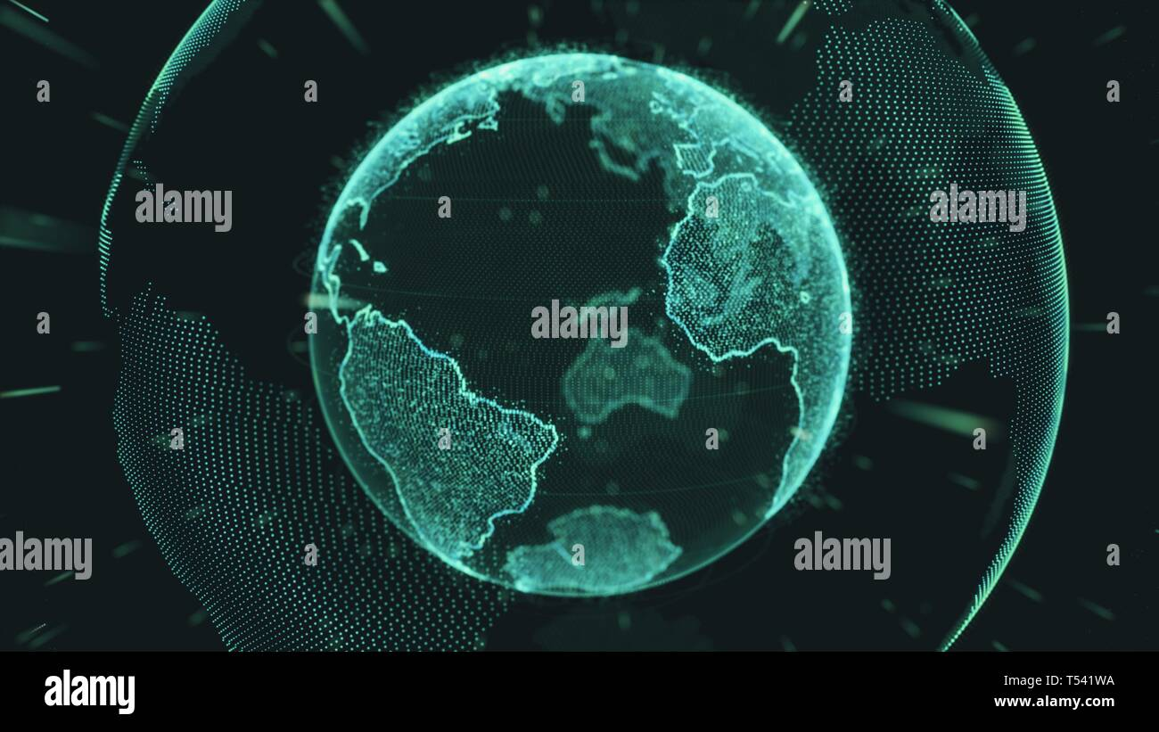 Earth rotating loop of rotating glowing dots stylised world globe with orbits - Stock Image