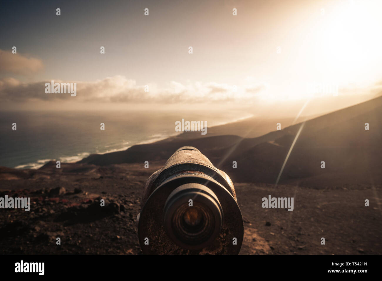 Observator view for adventure wild nature outdoors concept and alternative travel vacation scenic place - beach and mountains at the sunset in backgro Stock Photo