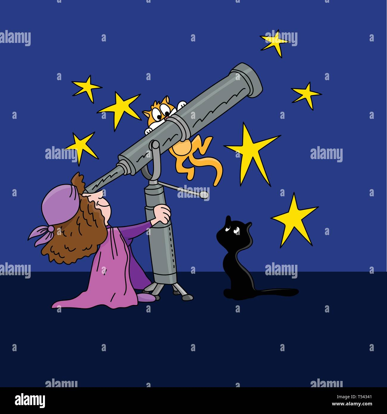 Cartoon astrologer looking at the star positions in the sky with a telescope at night time vector illustration - Stock Vector