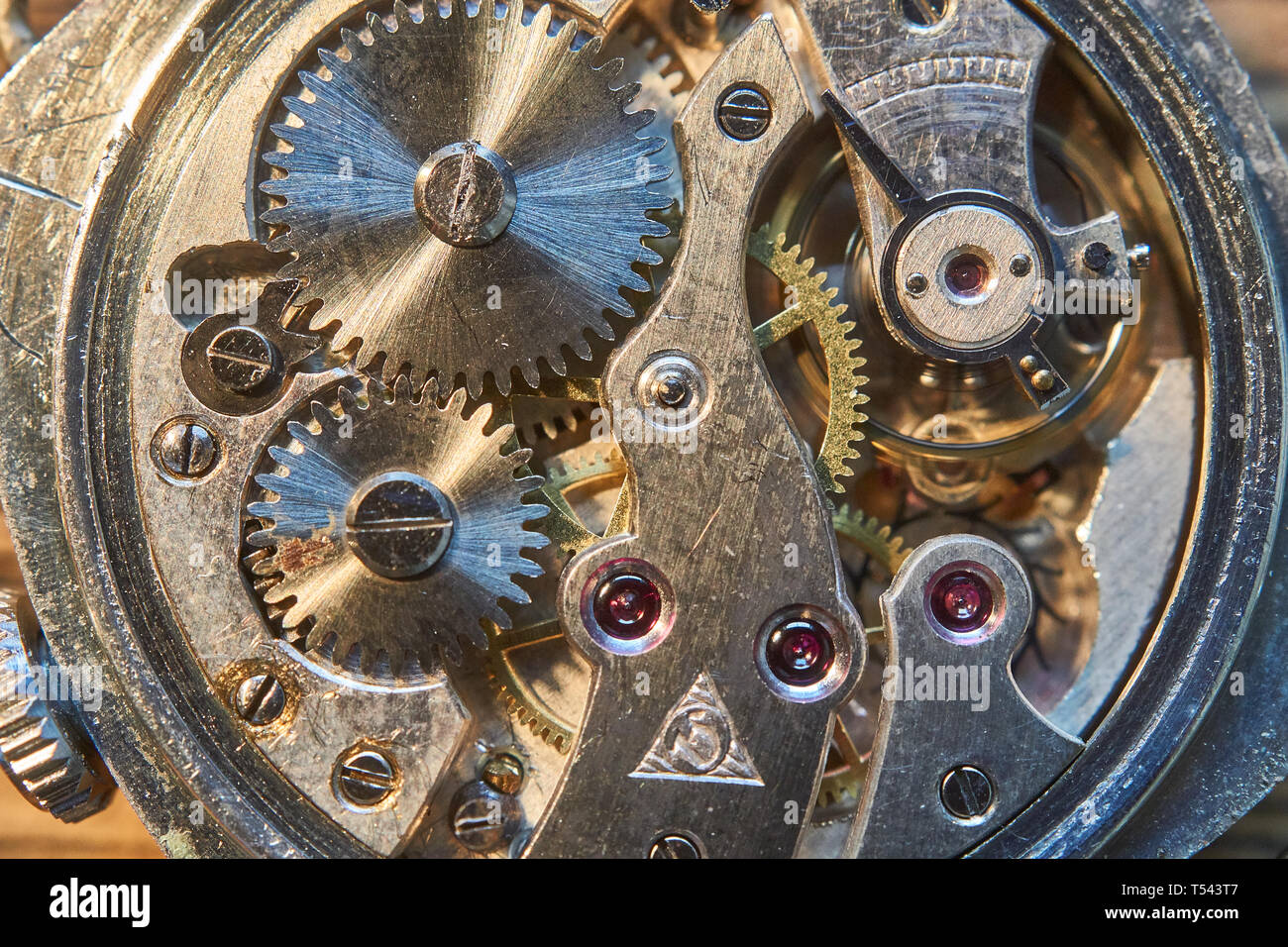 macro images of a vintage watch movement - Stock Image
