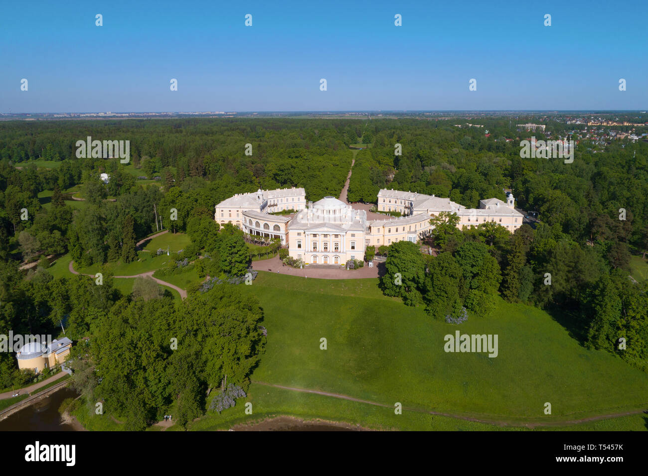 The Pavlovsk Palace in a summer landscape (aerial photography). Vicinities of St. Petersburg, Russia - Stock Image