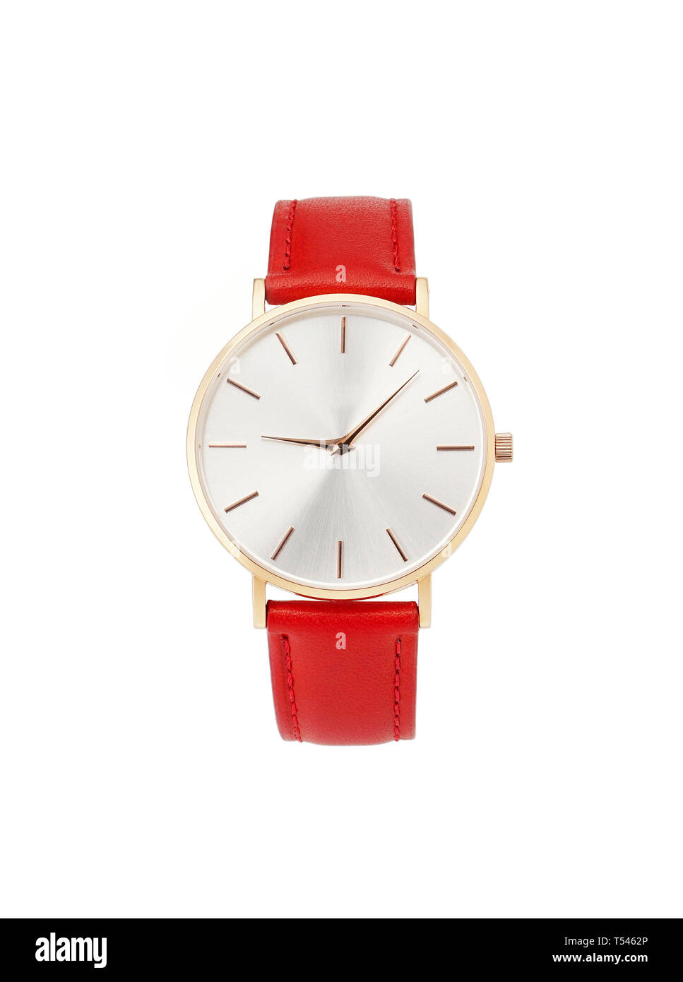 Classic women's gold watch with white dial, red leather strap, isolate on a white background. Front view. - Stock Image