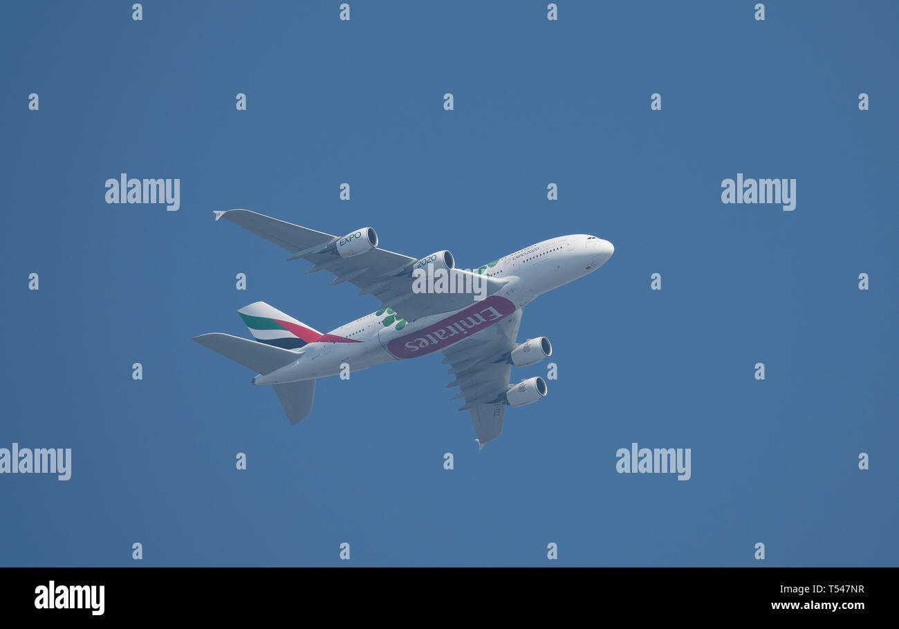 A6-EEZ Airbus A380-861 of Emirates Airways leaving Heathrow Airport on 21st April, 2019 for Dubai. - Stock Image