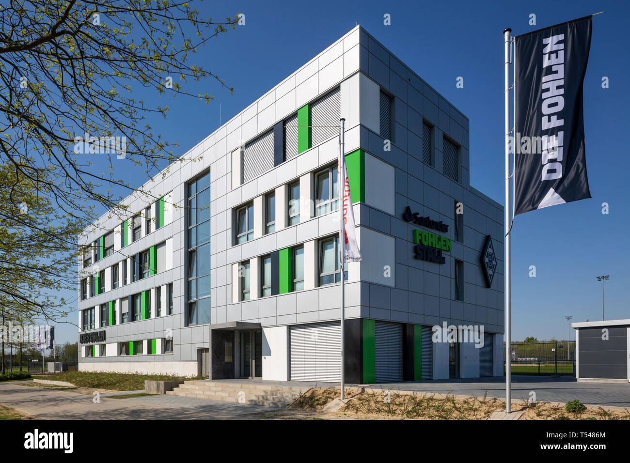 sports, football, Bundesliga, 2018/2019, Borussia Moenchengladbach, at the Stadium Borussia Park the Santander FohlenStall was officially opened in March 2019, boarding school for young and up-and-coming players, football academy, junior football, youth work, work with young talents, talent pool - Stock Image