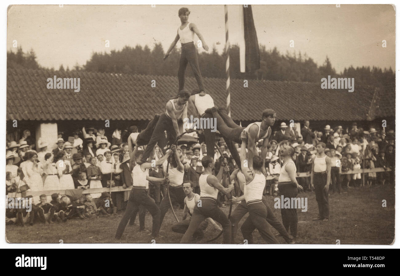 Human pyramid performed by athletes from the Sokol Bechyně