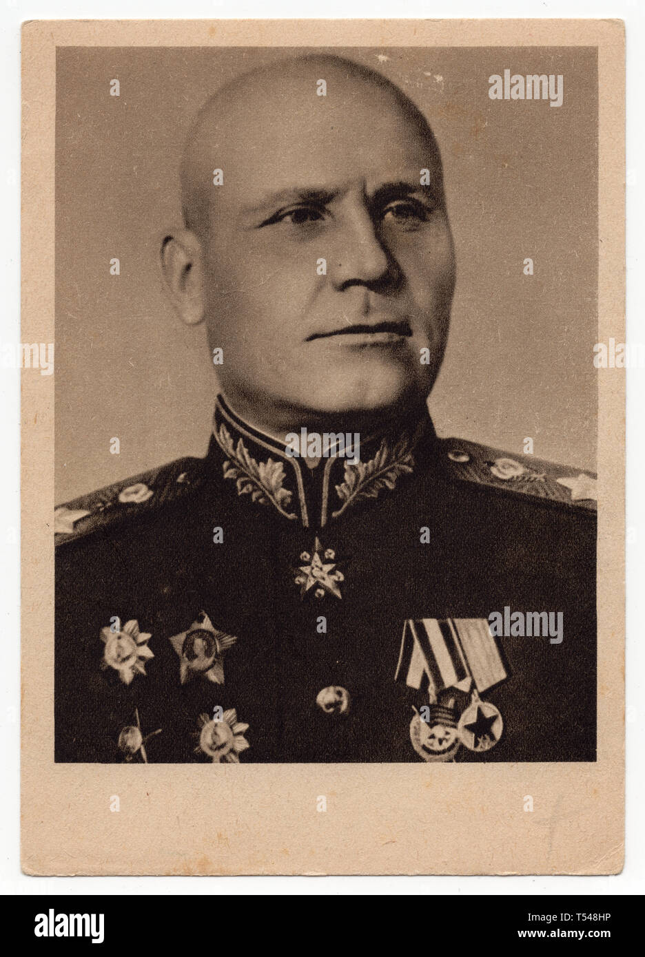 Soviet military commander Ivan Konev. Czechoslovak vintage postcard issued in 1945. Courtesy of the Azoor Postcard Collection. - Stock Image