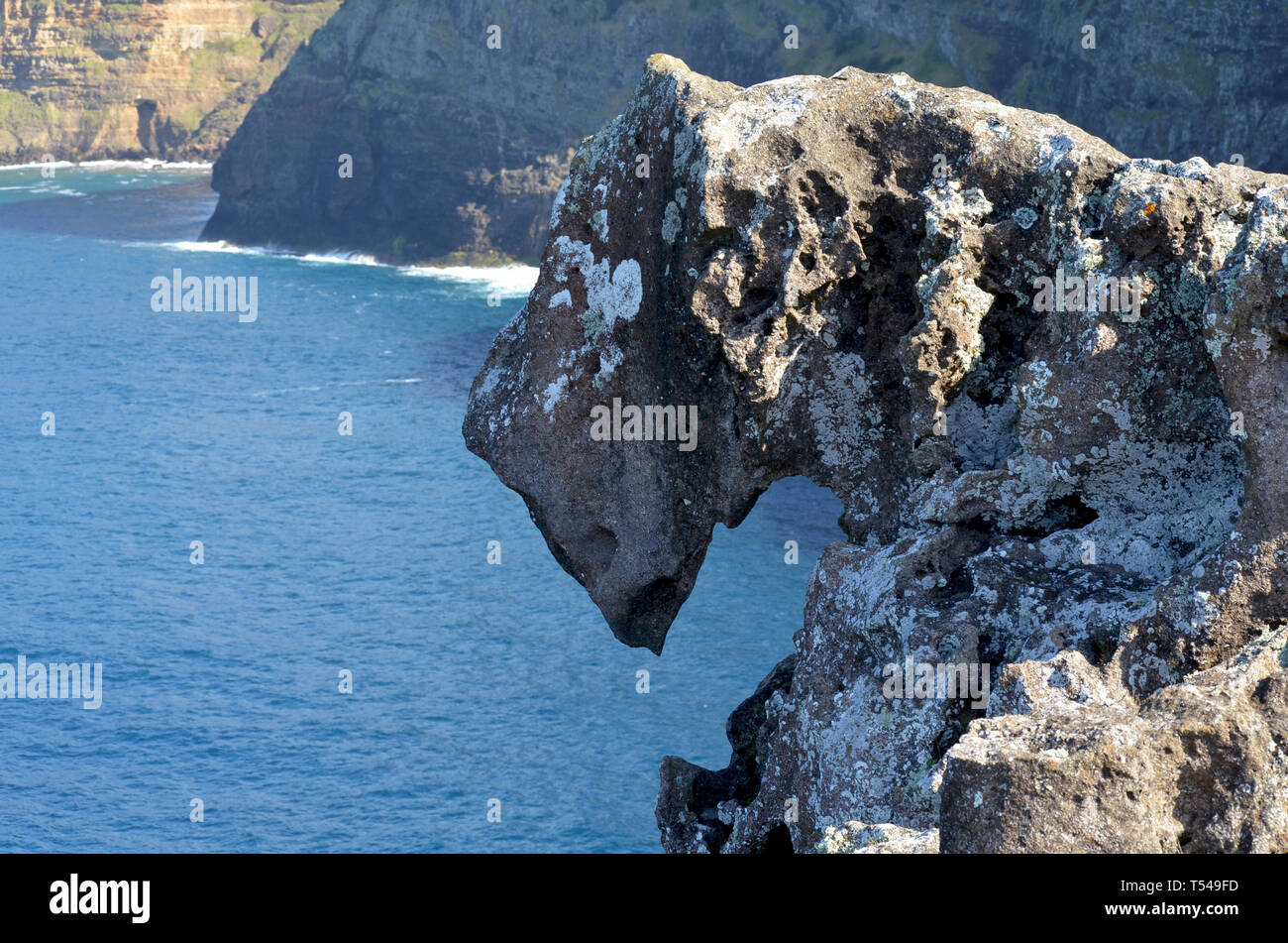 Dragon's Head, a rock sculpted by wind erosion in Anjos Bay, northen coast of Santa Maria island, Azores - Stock Image