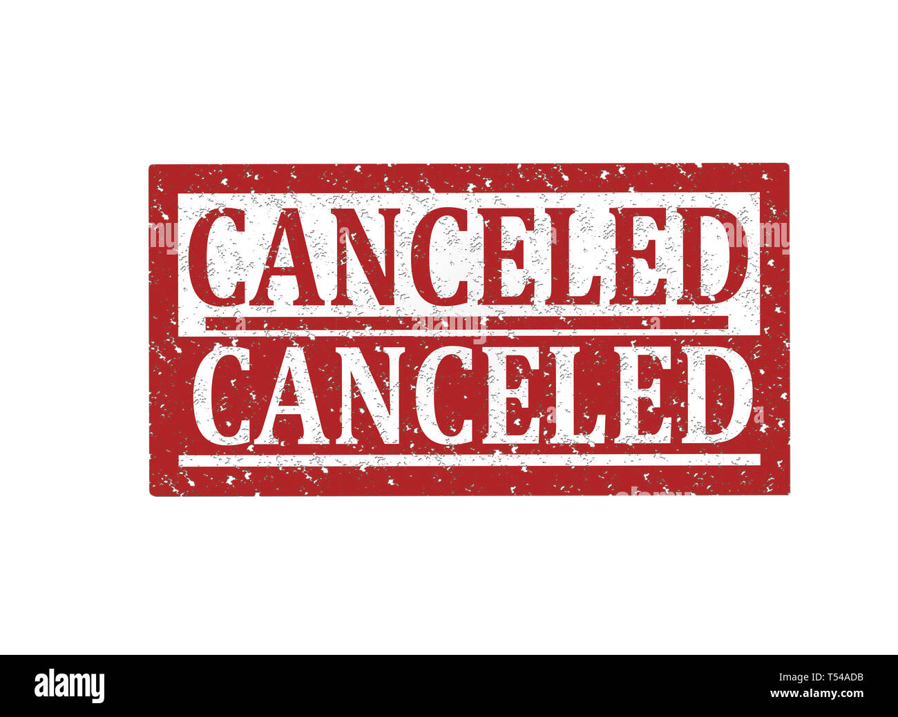 Rubber stamp Canceled, text on white illustration - Stock Image