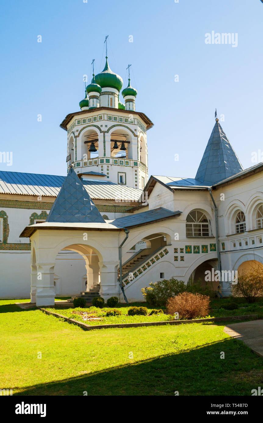 Veliky Novgorod, Russia. Belfry in Nicholas Vyazhischsky stauropegic female monastery, summer view - Stock Image