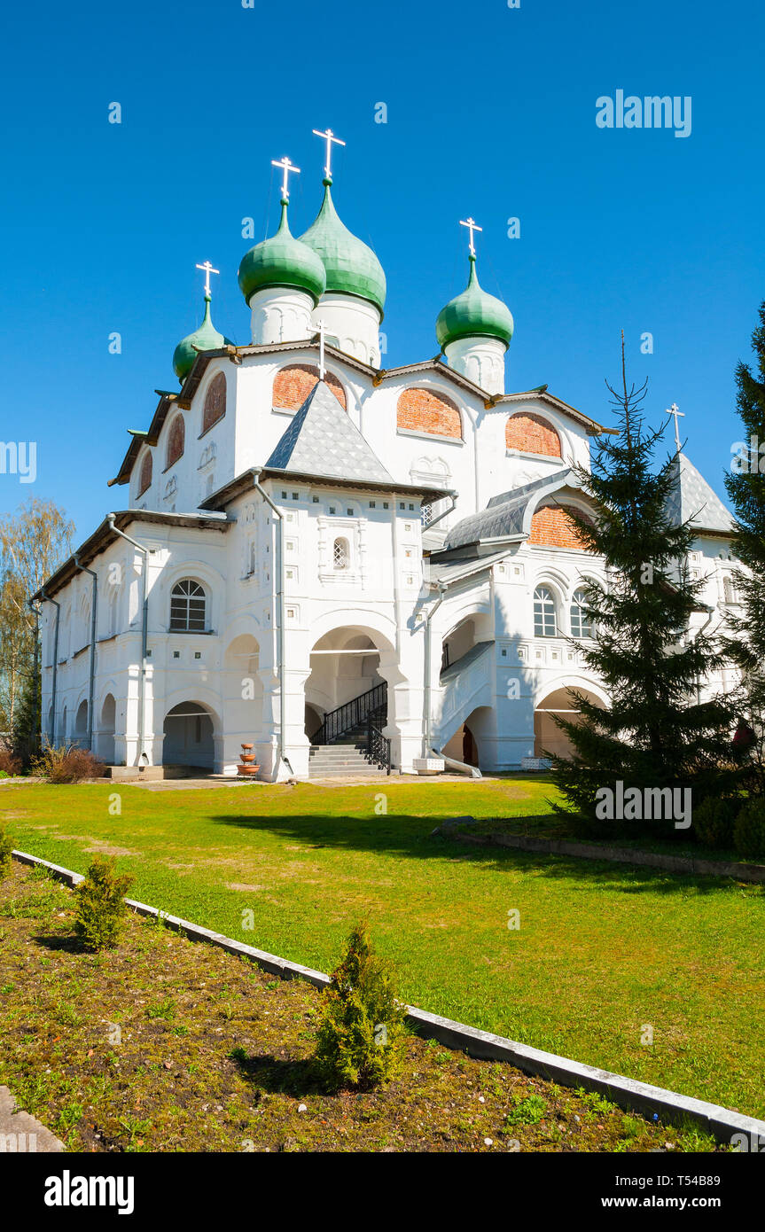 Veliky Novgorod, Russia - St Nicholas cathedral in St Nicholas Vyazhischsky stauropegic monastery in sunny weather - Stock Image