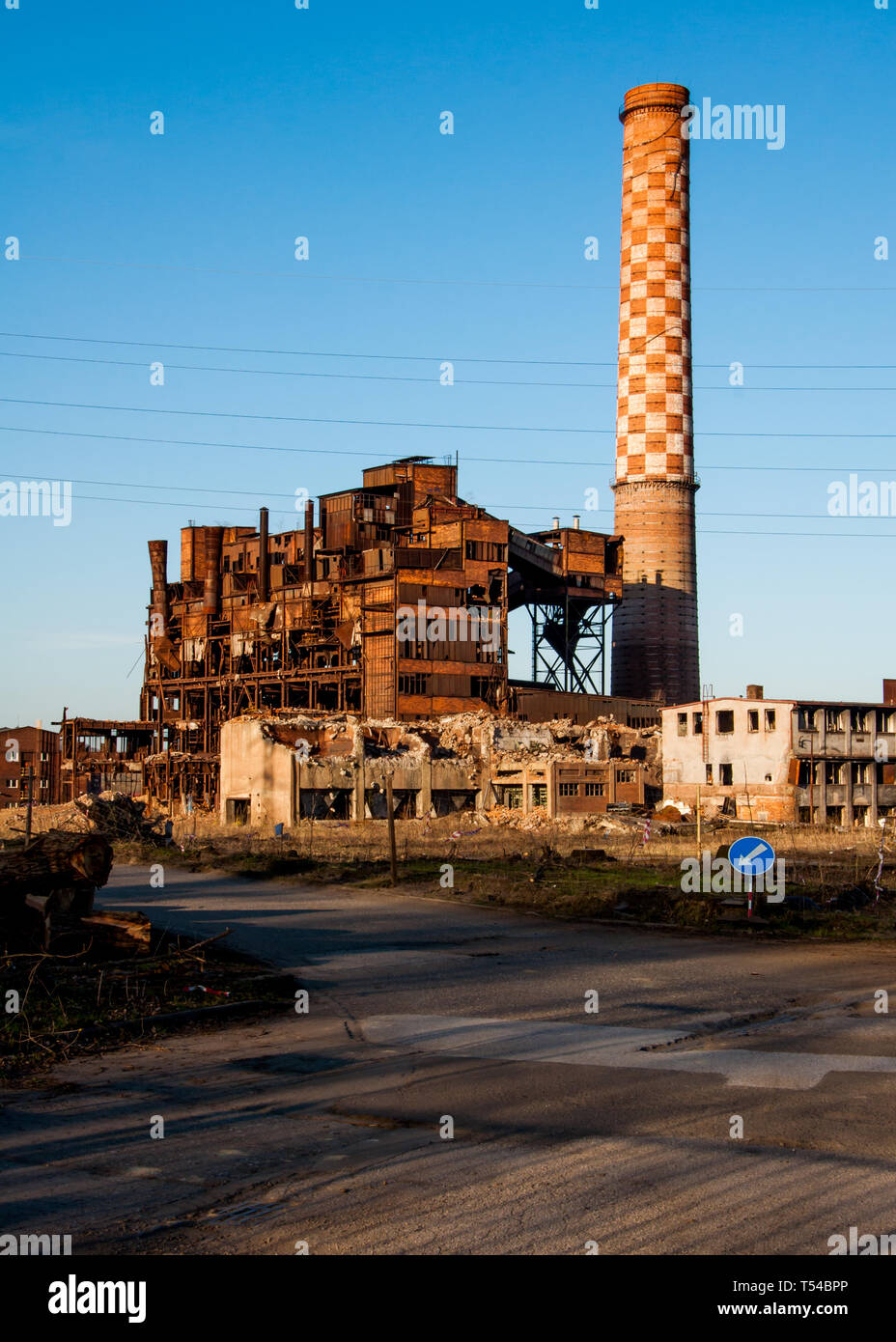 Ruins of old plant for processing of iron ore (aglomerace) in Ostrava Vitkovice, Czech Republic - Stock Image