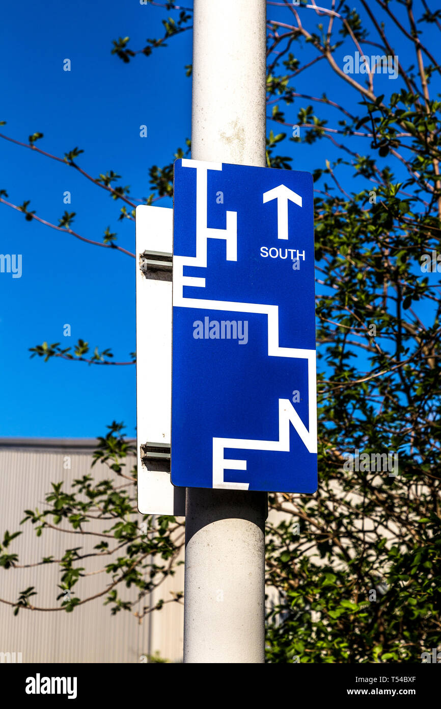 Direction sign for The Line Art Walk London, UK - Stock Image