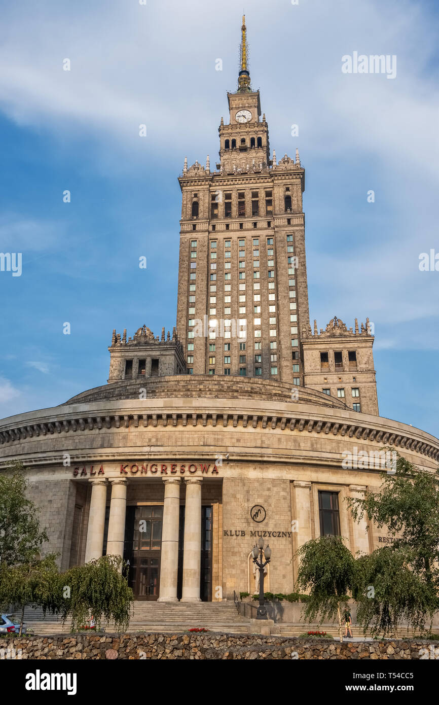 Warsaw, Poland - August 24, 2018: The enormous Palace of Culture and Science. Most famous landmark and symbol of Stalinism and communism in Warszawa,  - Stock Image