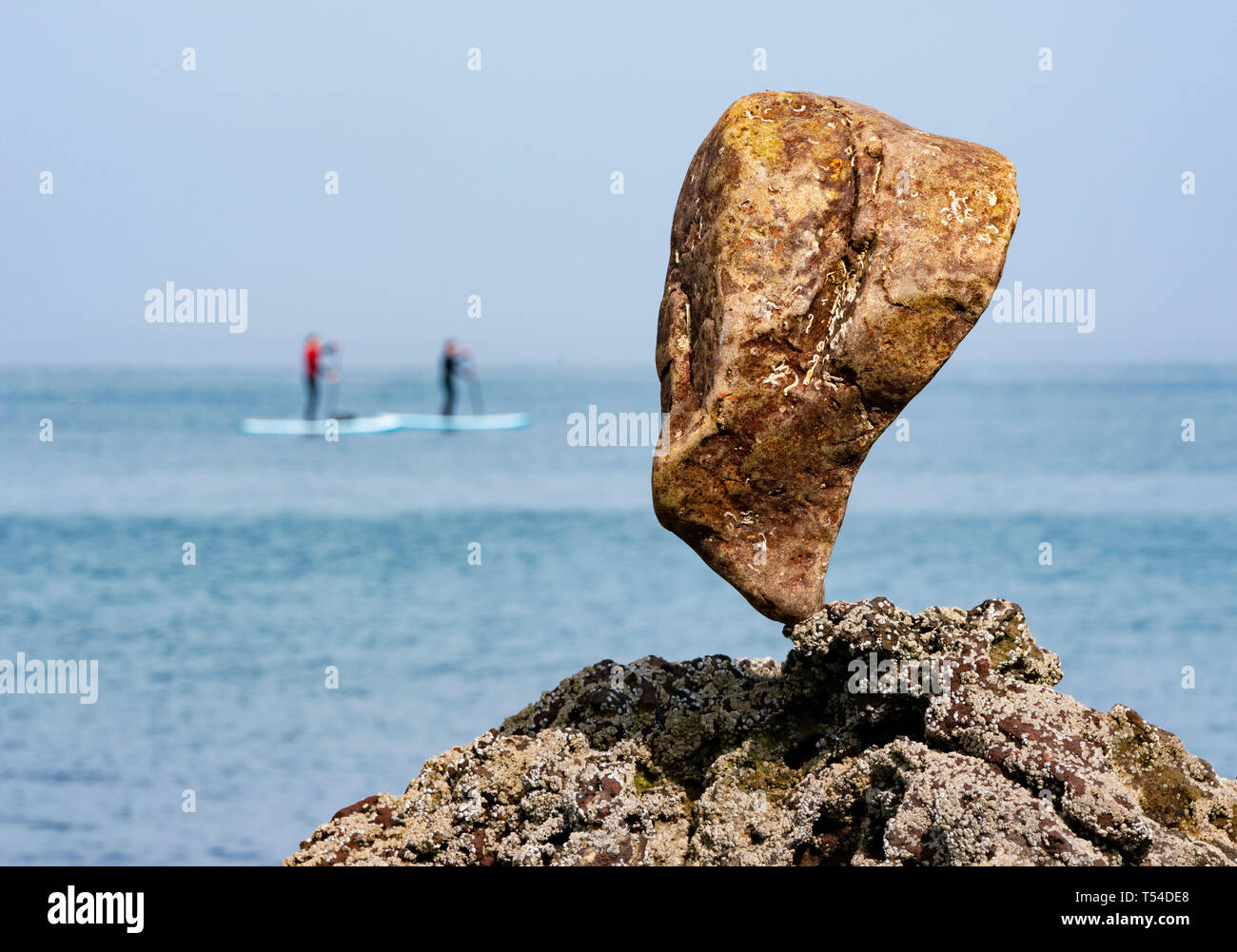 Dunbar, Scotland, UK. 20th Apr, 2019. Solitary stone balanced on rock at Eye Cave beach in Dunbar during opening day of the European Stone Stacking Championship 2019. Credit: Iain Masterton/Alamy Live News - Stock Image