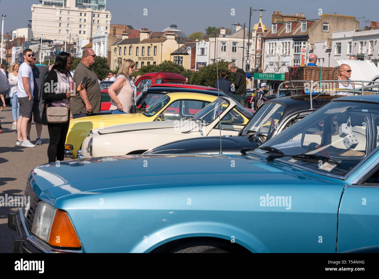 Classic car show taking place along the seafront at Marine Parade, Southend on Sea, Essex, UK. People. Sunny day Stock Photo