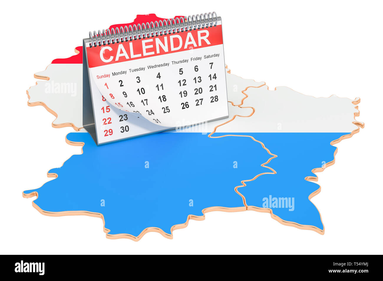 Desk calendar on the map of Luxembourg. 3D rendering ...