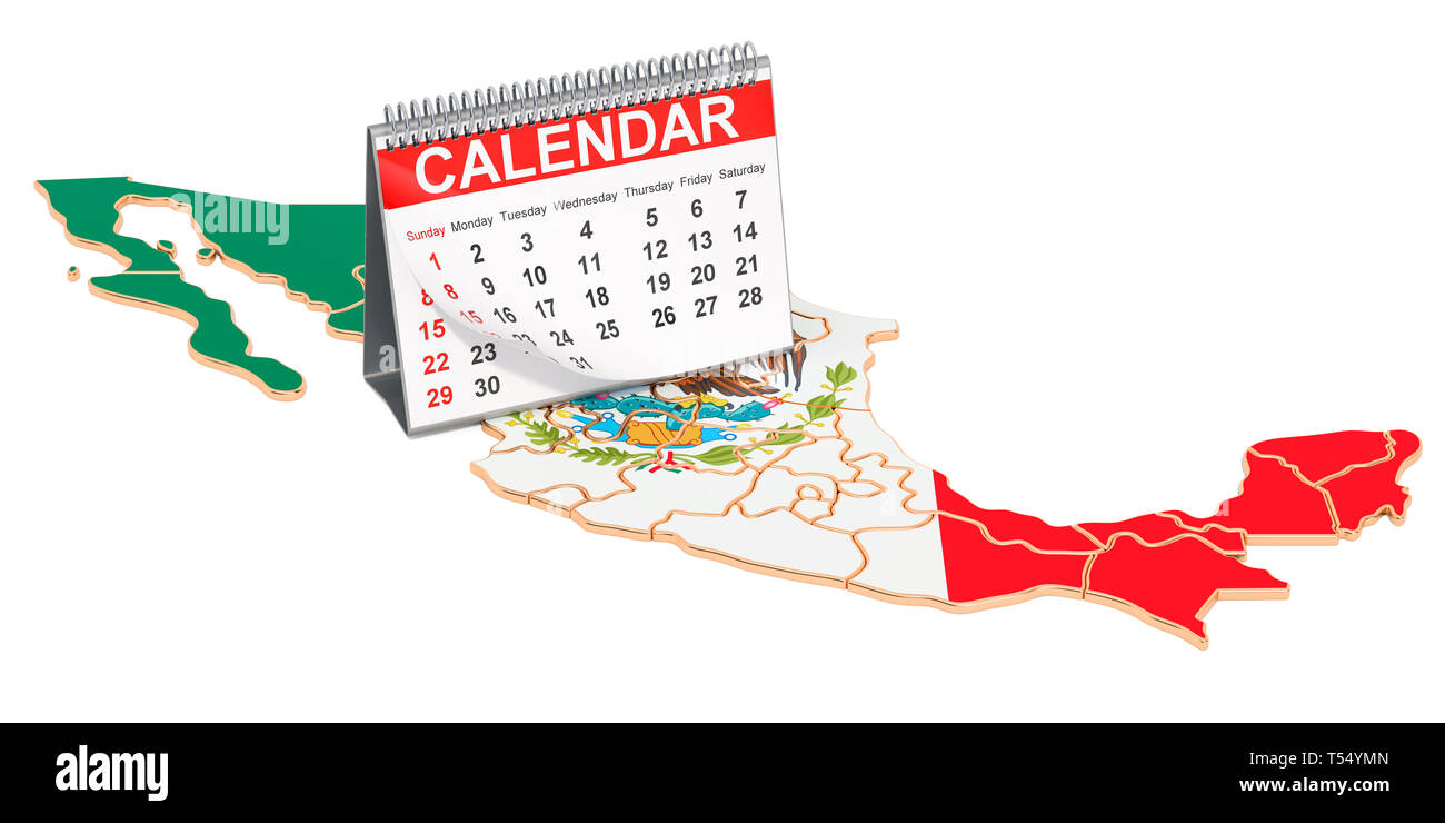 Desk calendar on the map of Mexico. 3D rendering isolated on black background - Stock Image