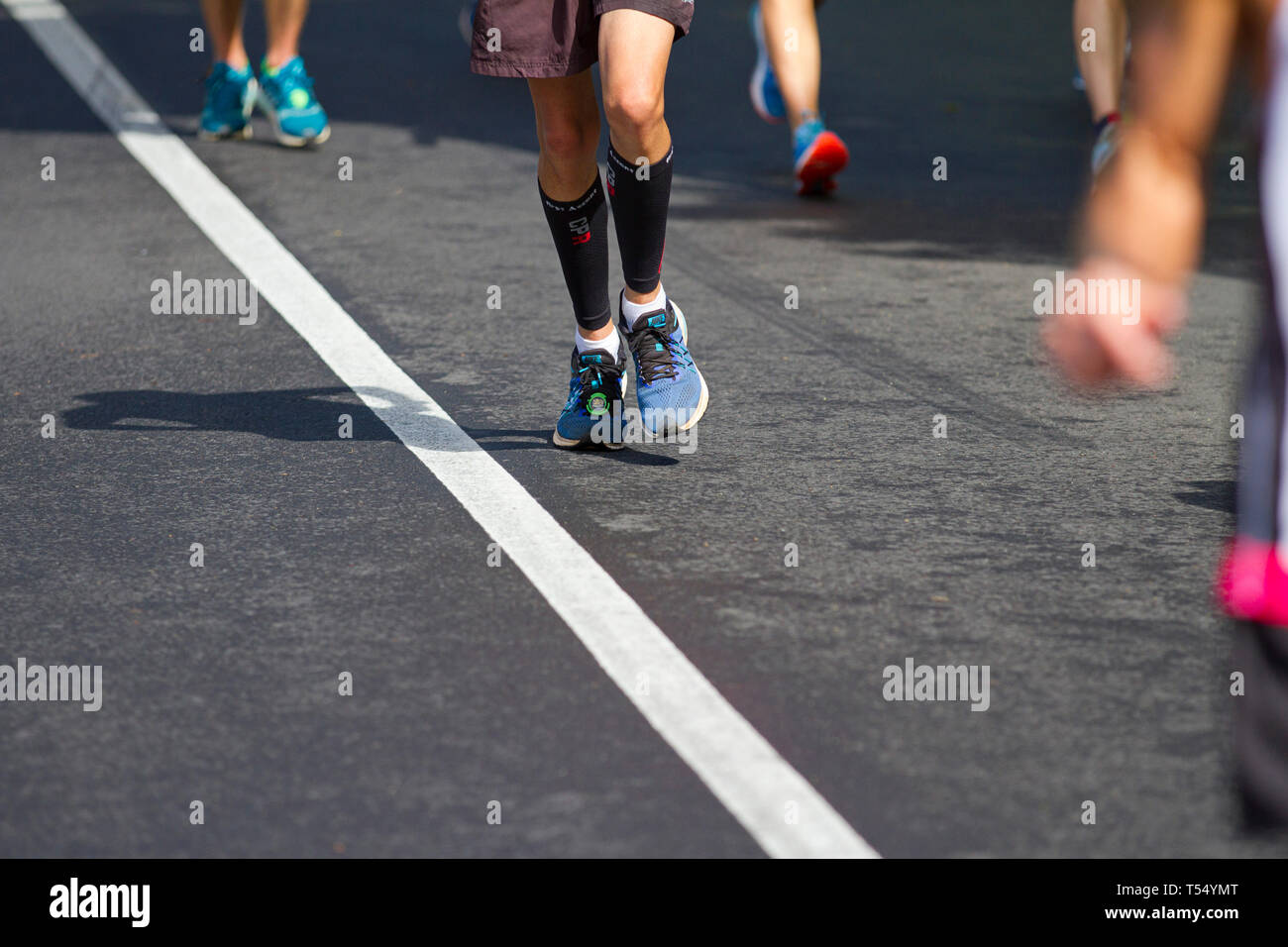 Shoes and Feet. Running the Old Mutual Two Oceans Marathon - Stock Image