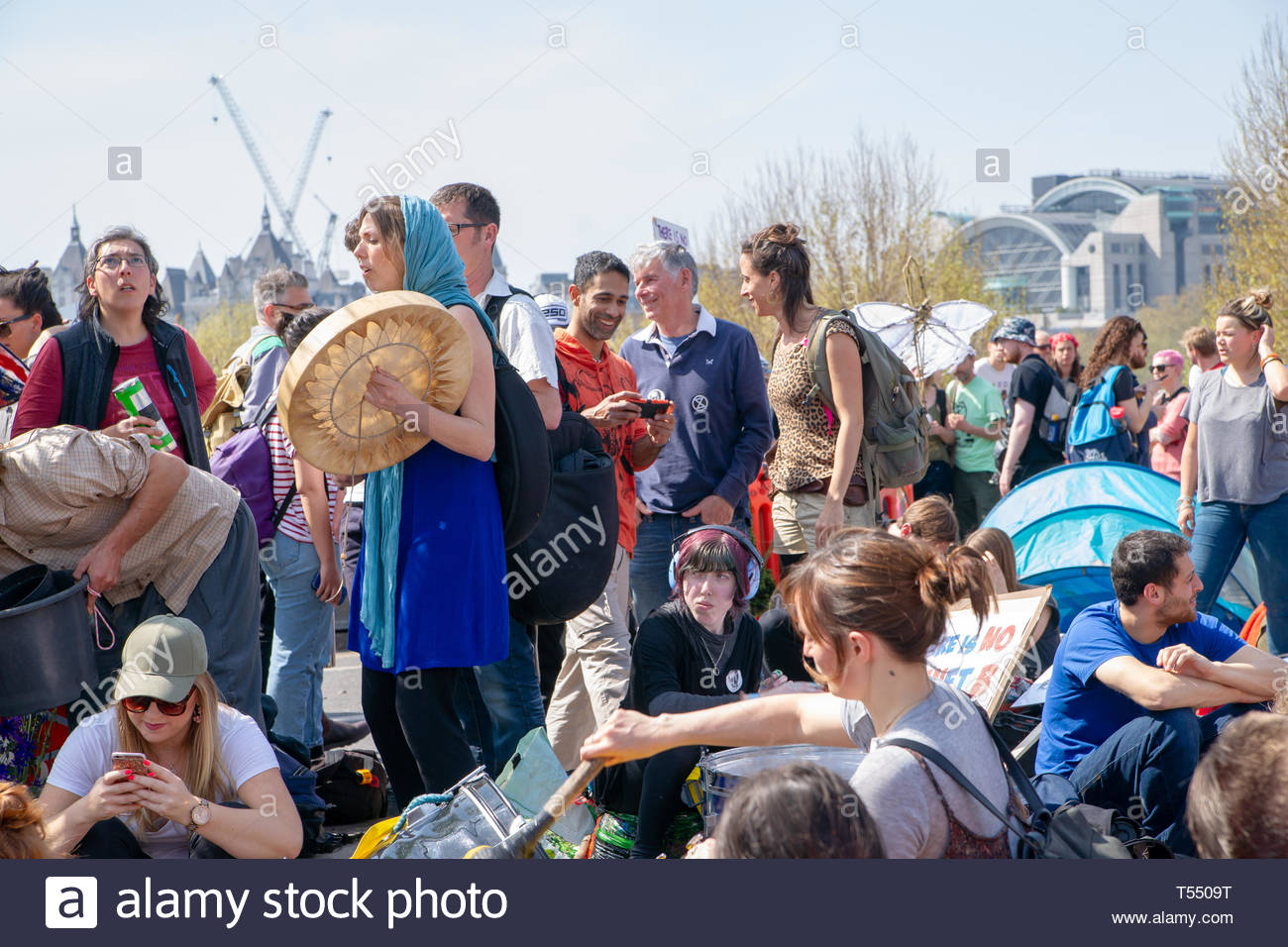 WATERLOO BRIDGE, LONDON, APRIL 19th, 2019: Artwork by Extinction Rebellion supporters expresses concern about global climate change on 19th April 2019 - Stock Image