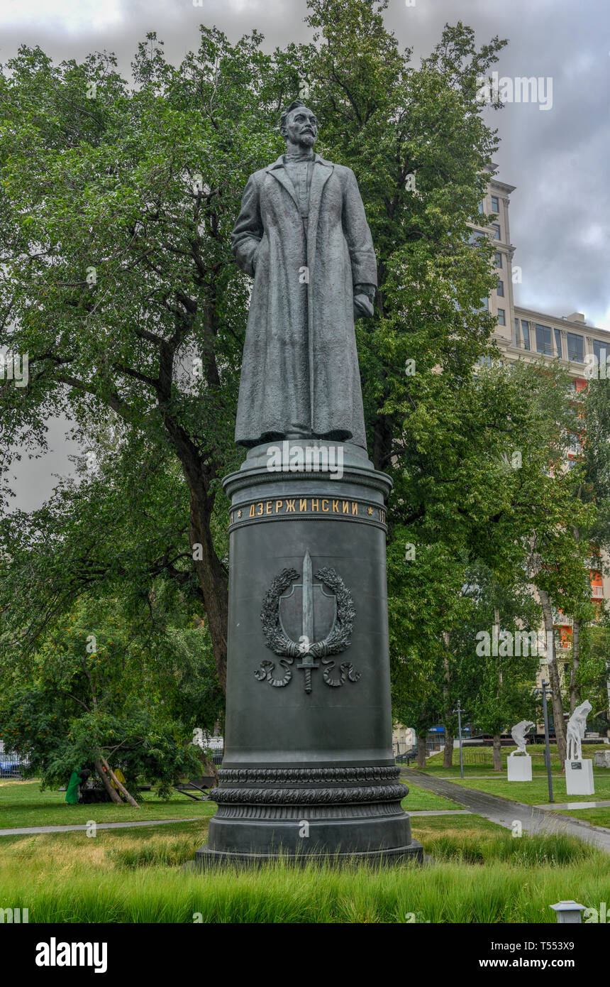 Moscow, Russia - July 18, 2018: Sculpture of Felix Dzerzhinsky in the Fallen Monument Park, Moscow, Russia. - Stock Image
