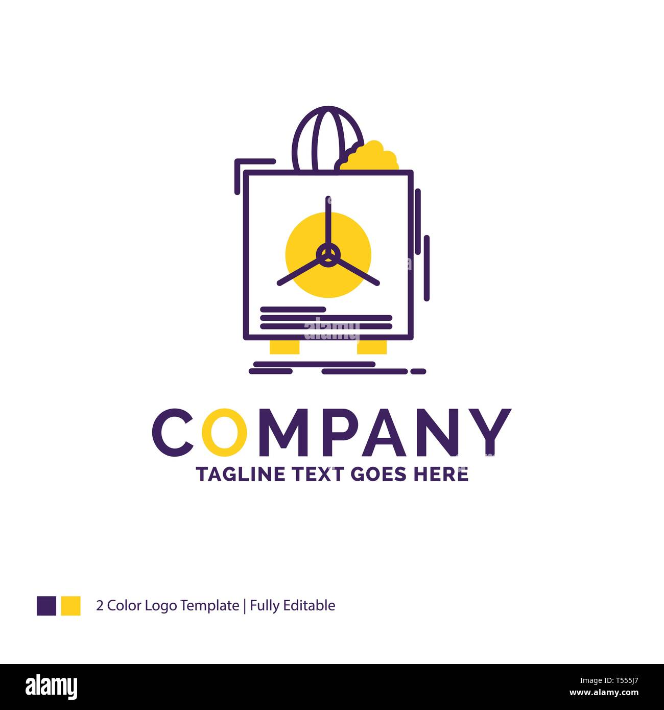 Company Name Logo Design For insurance, Fragile, product, warranty, health. Purple and yellow Brand Name Design with place for Tagline. Creative Logo  - Stock Image