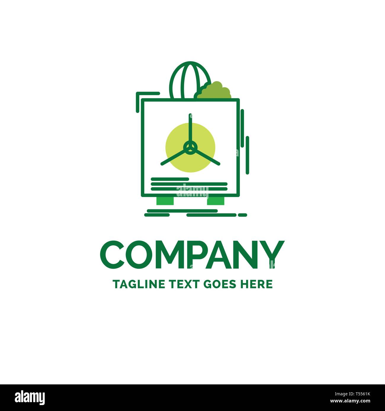 insurance, Fragile, product, warranty, health Flat Business Logo template. Creative Green Brand Name Design. - Stock Image