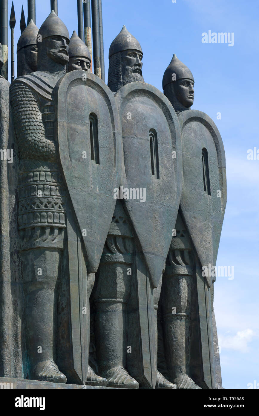 PSKOV, RUSSIA - JUNE 11, 2018: Old Russian warriors close-up. Fragment of the memorial 'Ice Slaughter' on Sokolikha Mount Sokolikh - Stock Image