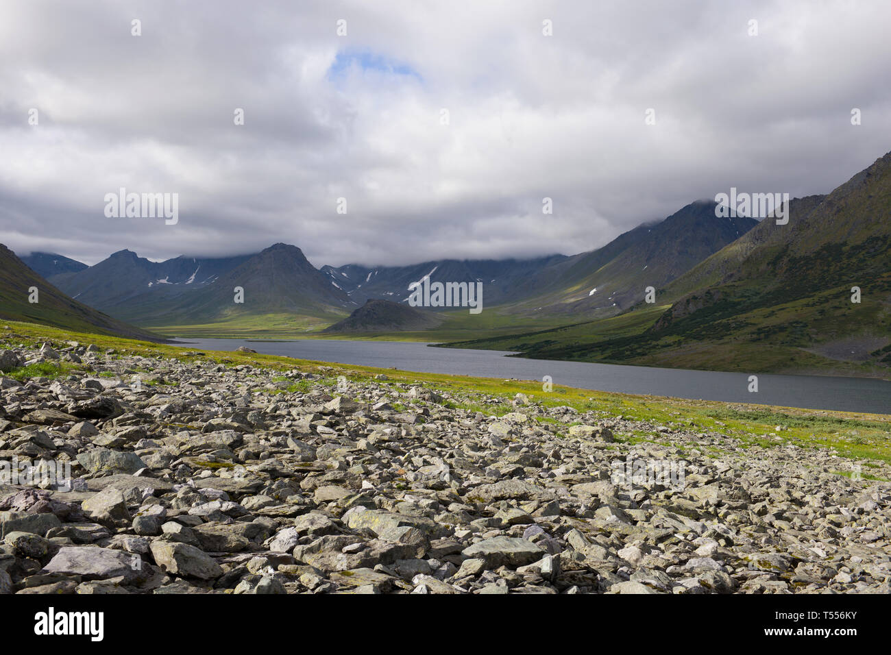 In the mountains of the Polar Urals - Stock Image