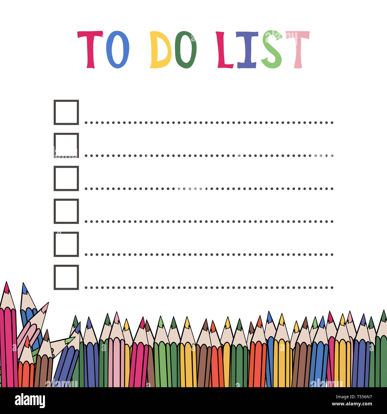 image relating to Blank to Do List called In the direction of do record. Layout with coloured pencils. Vector instance