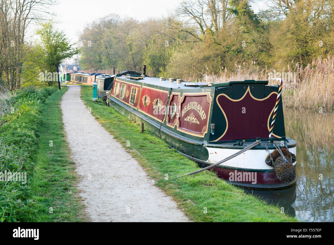 Canal boats on the oxford canal in the early morning spring sunlight. Thrupp, Oxfordshire, England Stock Photo