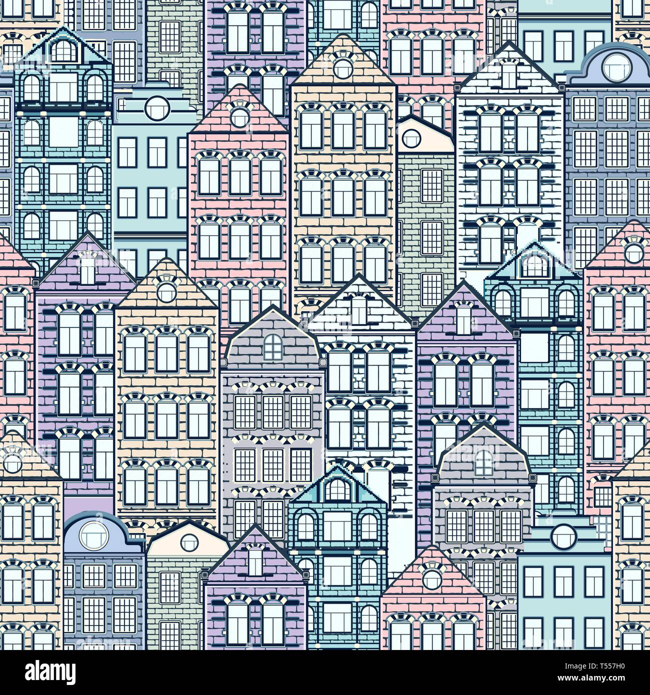 Colorful houses seamless pattern, city background, urban landscape. Multicolored pastel European brick house, flat drawing, architecture ornament, vec - Stock Vector