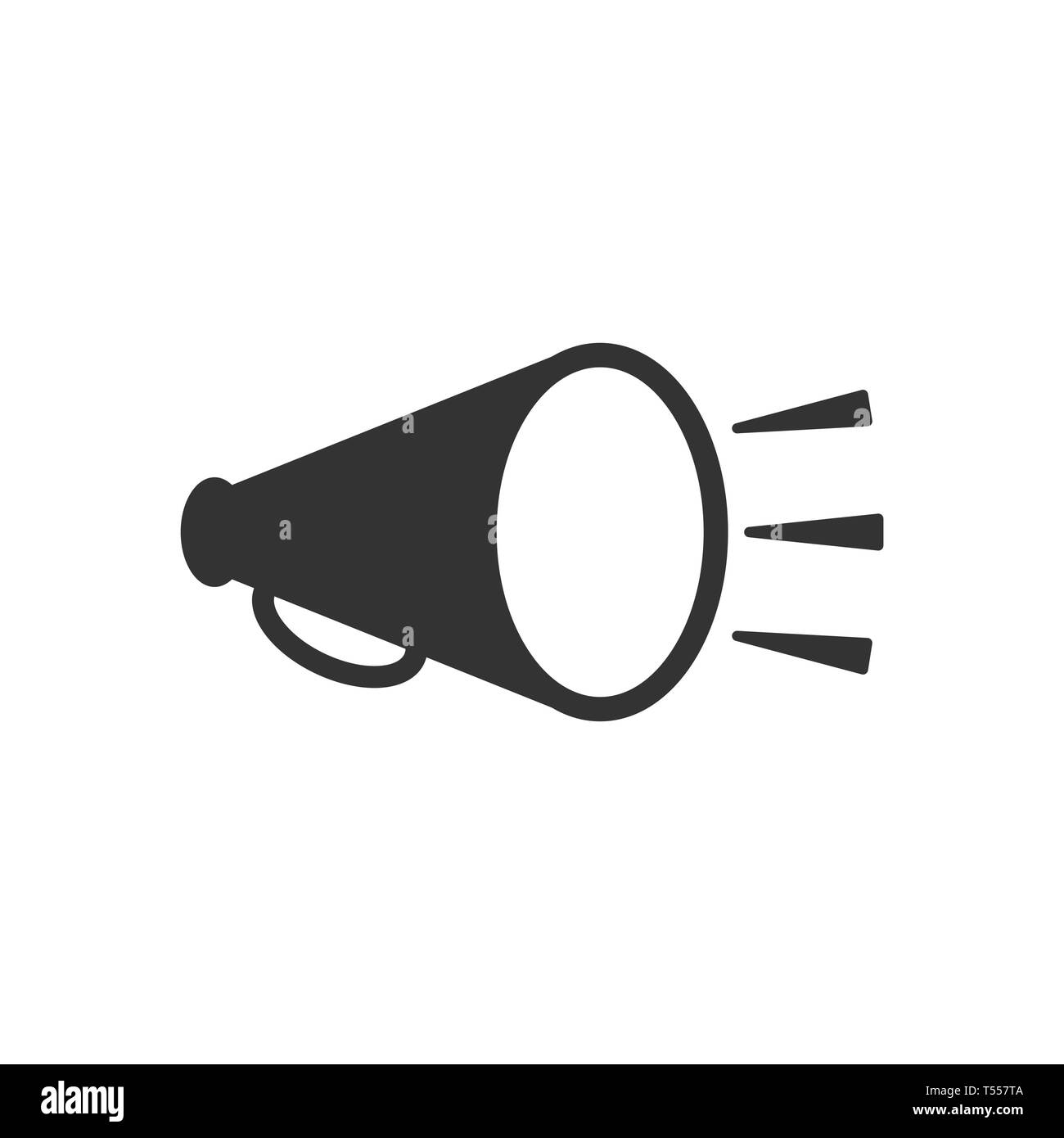 Megaphone speaker icon in flat style. Bullhorn vector illustration on white isolated background. Scream announcement business concept. - Stock Vector