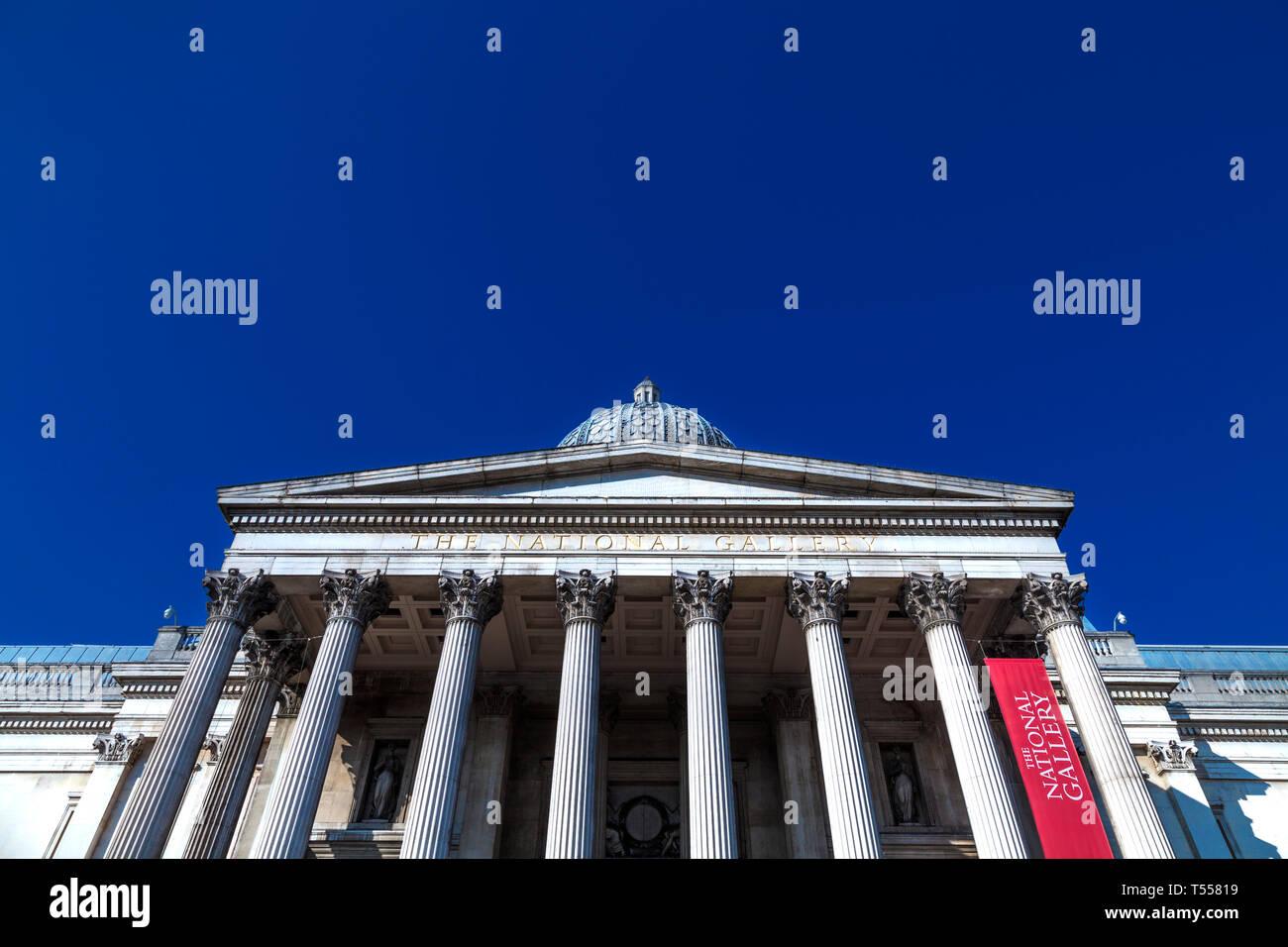 Exterior of the National Museum in Trafalgar Square, London, UK - Stock Image