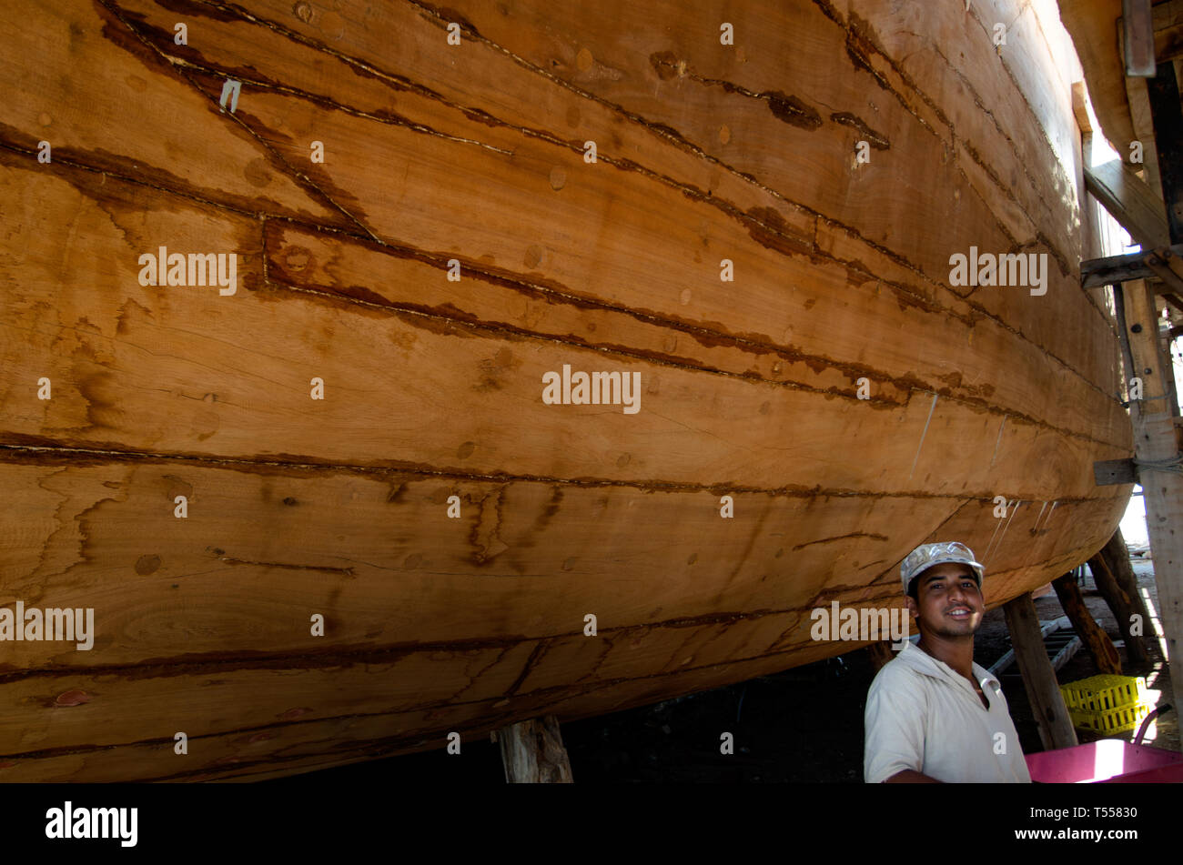 Omani Dhow-building carried out using traditional methods and